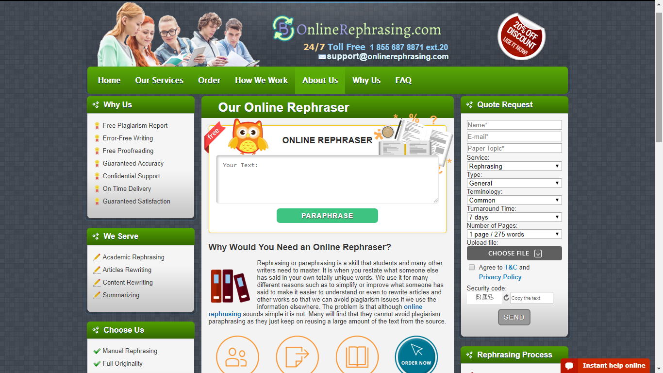 onlinerephrasing.com top rated paraphraser online