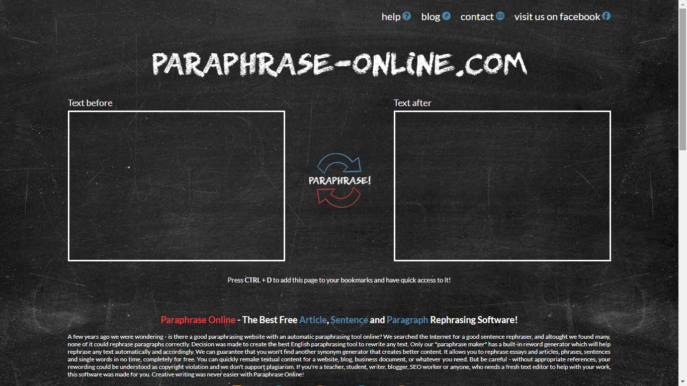 paraphrase-online.com rephrasing generator