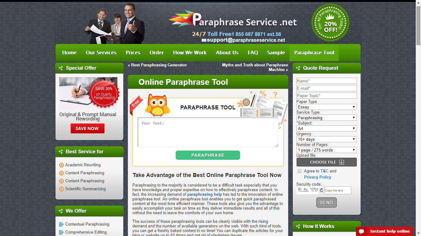 paraphraseservice.net top rated paraphraser online