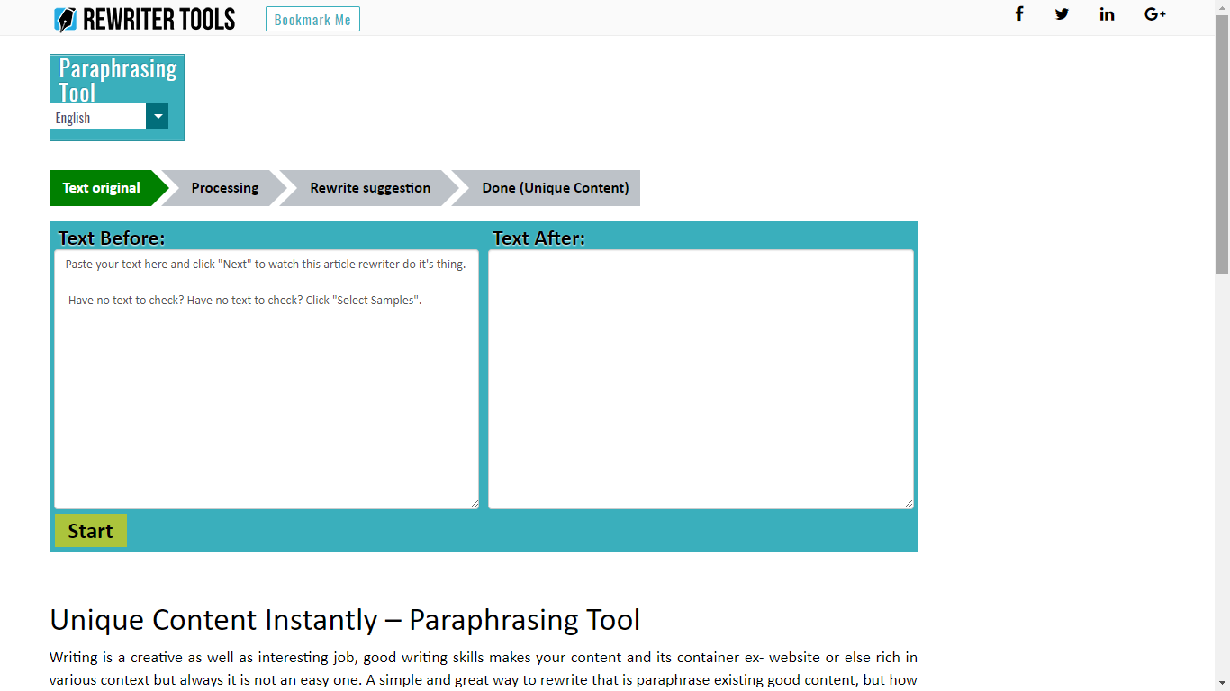 rewritertools.com paraphrasing tool